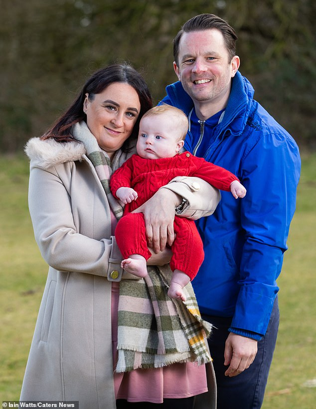 The couple started the IVF process through Care Fertility based in Manchester. They created two separate batches of embryos using an anonymous egg donor and both of their sperm. Pictured Anthony with Tracey and Theo