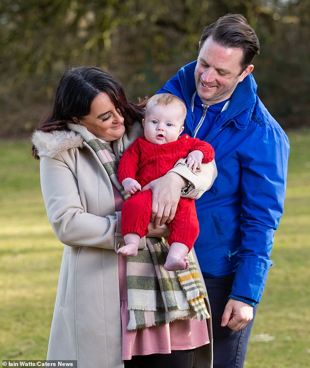 Initially, the couple hoped to meet someone through social events hosted by a Surrogacy UK. But after a year, they hadn't formed a bond with anyone and were beginning to lose hope. Pictured:Anthony Deegan with his sister Tracey and baby Theo