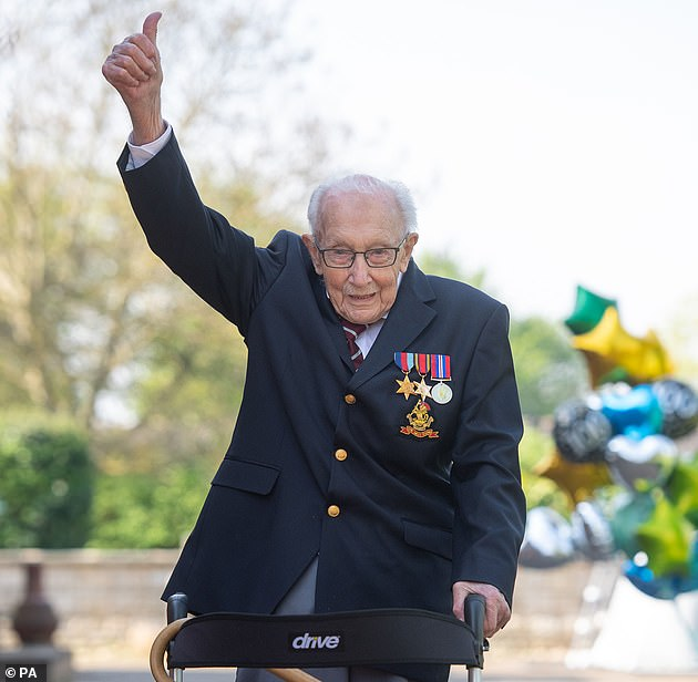 Captain Tom Moore at his home in Marston Moretaine, Bedfordshire, after he achieved his goal of 100 laps of his garden in April last year