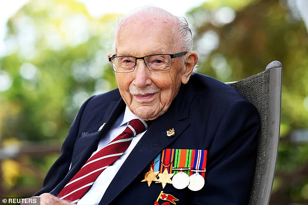 She revealed Sir Captain Tom Moore (pictured) wanted Victoria sponge cake and sandwiches at his funeral and had asked for his ashes to be taken to the family grave in Yorkshire