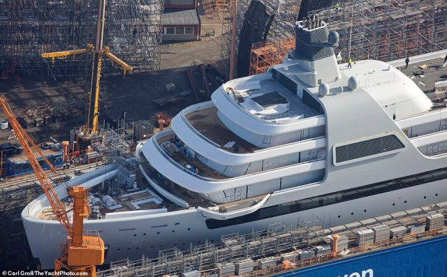 The 460ft Solaris, equipped with a helipad and swimming pool, will soon undertake sea trials before the 54-year-old Chelsea owner sets sail in the summer