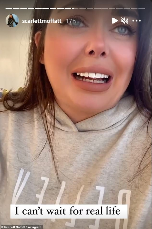 Emotional: Scarlett Moffatt burst into tears on Instagram on Monday at the thought of hugging her grandparents after Boris Johnson unveiled his lockdown exit strategy