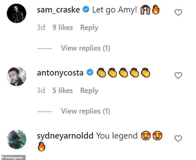 Reaction:Amy was inundated with congratulatory messages from her followers praising her for her efforts
