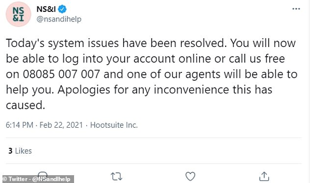The problem was fixed on Monday evening after online access had been blocked for a large portion of the day