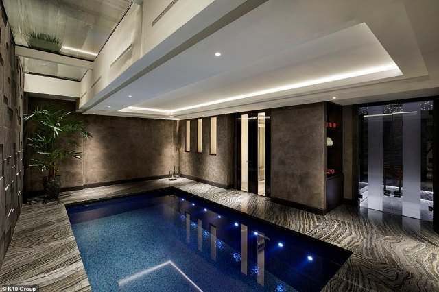 The townhouse, which was estimated to be worth £30 million, is directly adjacent to Hyde Park. The heiress said she wanted a house over a flat due to the Covid-19 pandemic (pictured: the pool)