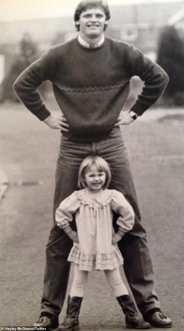 Hayley, who now works as a sports presenter, poses with her ex-footballer dad in a family snap