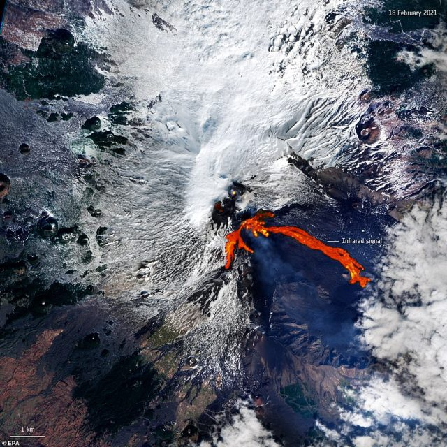 Pictured:A handout satellite photo dated 18 February 2021 and made available by the European Space Agency showing lava flowing down the side of Mount Etna, which has been erupting over the last week