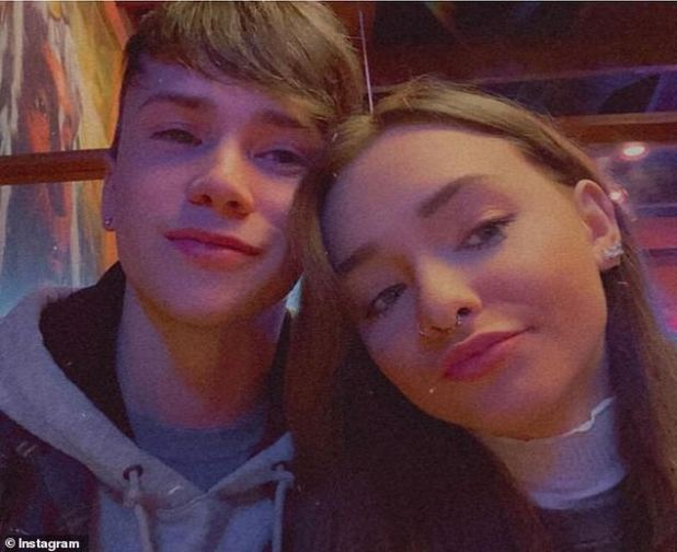 Happy couple: Dawson, 20, also shared his excitement on Instagram, posting this photo of the couple with the caption: 'We couldn't be happier.