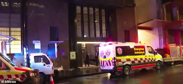 The woman was rushed to Royal Prince Alfred Hospital in a critical condition. Pictured arr emergency services at the scene