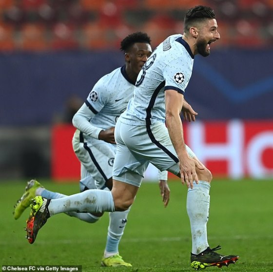 Olivier Giroud scored the only goal in Bucharest that gave Chelsea the advantage in the last 16 games