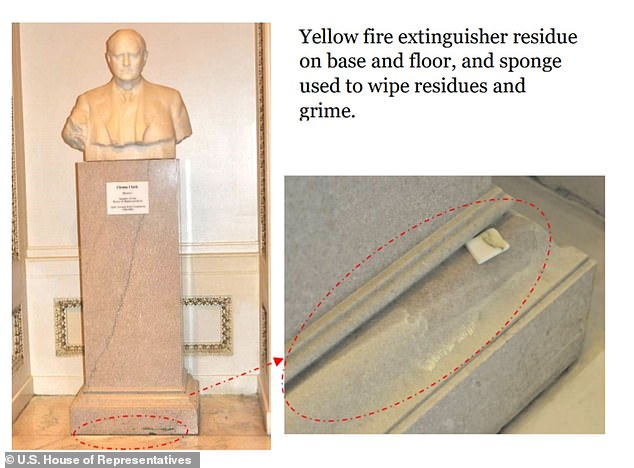 The curator provided lawmakers with examples of the damage in his written testimony, including some of the discoloration on the base of the bust of former Speaker Champ Clark, likely caused by fire extinguishers going off