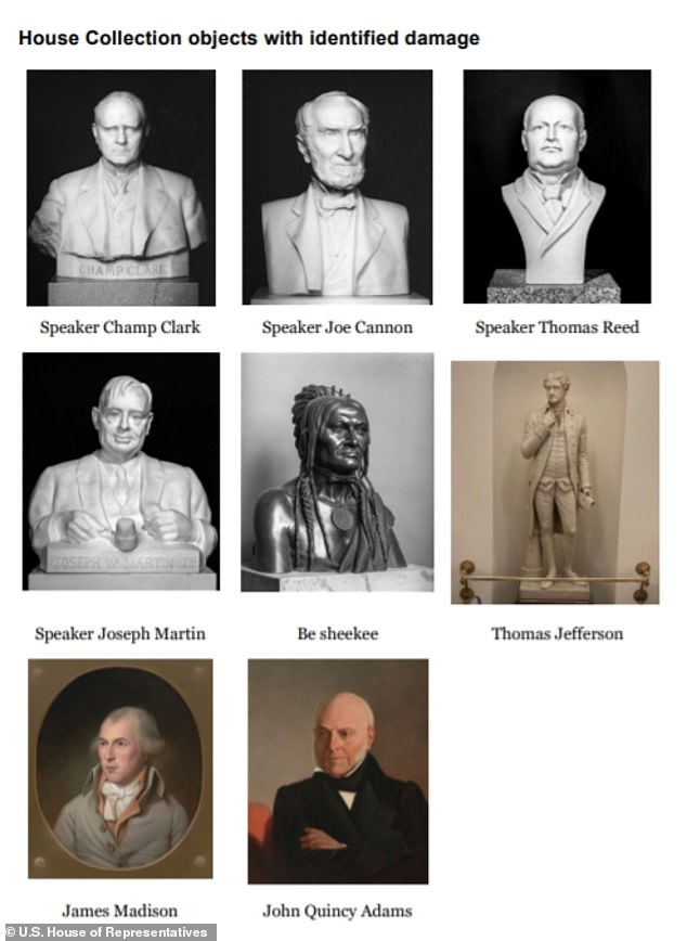 Curator Farar Elliott listed eigth pieces of the House Collection that were damaged during the January 6 MAGA mob including portraits of James Madison and John Quincy Adams and a statue of Thomas Jefferson