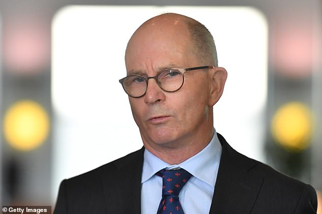 Chief Medical Officer Paul Kelly is seen at a press conference on Wednesday, where the government addressed a coronavirus vaccine bungle in Queensland