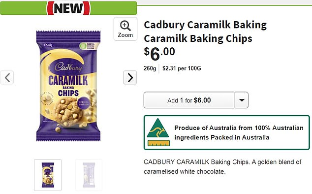 A standard bag of Cadbury baking chips are sold in a 200g packet, but the Caramilk baking chips will be available in a 260g bag for $6