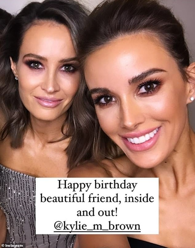 'Beautiful friend':Rebecca Judd - the wife of former AFL player Chris Judd - also shared a birthday post dedicated to her friend and fellow WAG on Instagram Stories