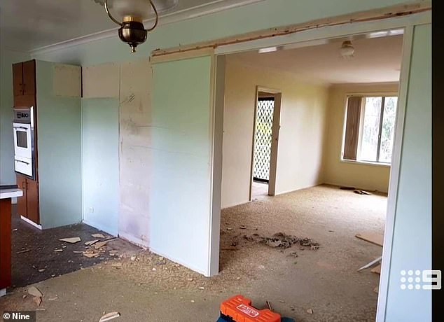 'It was squalor': The 31-year-old property developer shared photos of the dilapidated home she used to live in with her two children. She claims she was left with $1.50 to her name after walking out on her husband, who she discovered was cheating on her with multiple women