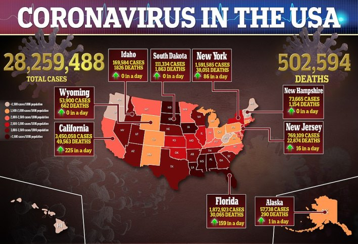 More than 28.2 million people in the US have been infected with the virus since it hit the US last year