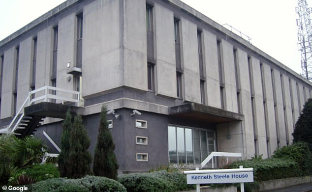 A notice for PC Serbanescu's misconduct hearing at Kenneth Steele House (pictured) alleges that she told a colleague she knew they were going to arrest the men as soon as she saw them