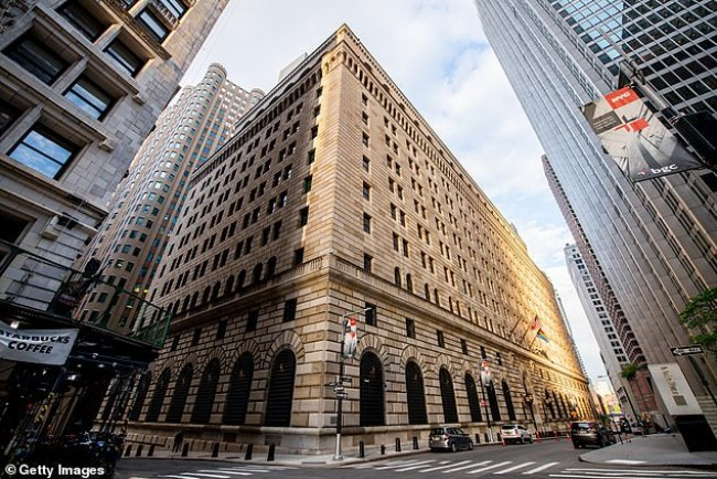 A view of The Federal Reserve Bank of New York Building at 33 Liberty Street
