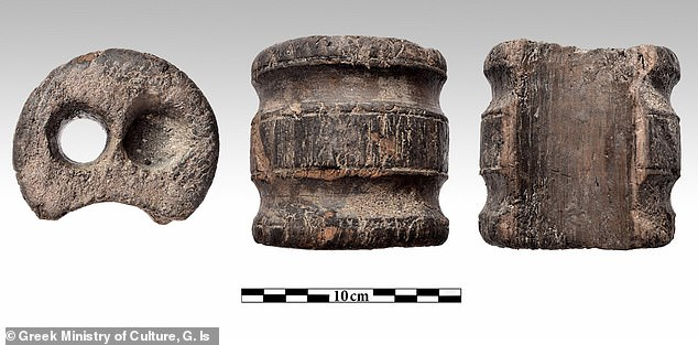 Wooden cylinder with two holes. The sunken the ship was owned by Thomas Bruce, Earl of Elgin, the Scottish nobleman who removed artefacts from the Parthenon early in the 19th Century