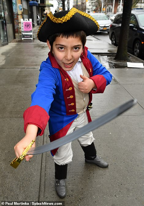 Arg! This little boy was spotted in Brooklyn on Thursday dressed as a pirate for Purim