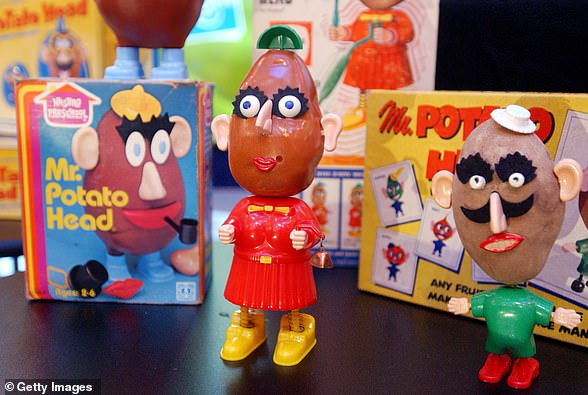Classic Mr Potato Heads is displayed on February 5, 2002 at a 50th birthday party for the popular children's toy at the Hasbro showroom in New York City