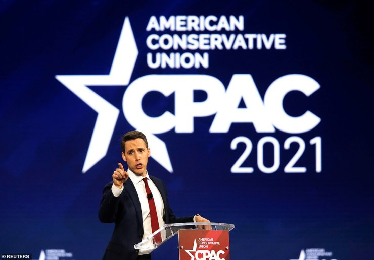 Missouri Senator Josh Hawley gave a fiery speech where he vowed he wasn't going anywhere, called for Big Tech to be broken up and slammed China. 'Josh, Josh, Josh,' the crowd shouted as he left the stage