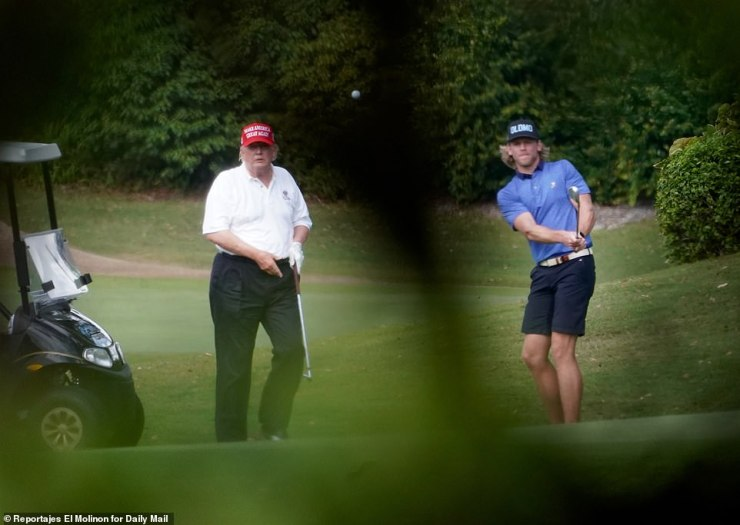 Trump played a round with a younger friend on Friday, with both enjoying the warm Florida weather