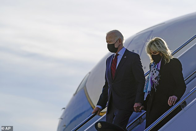 President and First Lady are pictured on Saturday stepping off Air Force One