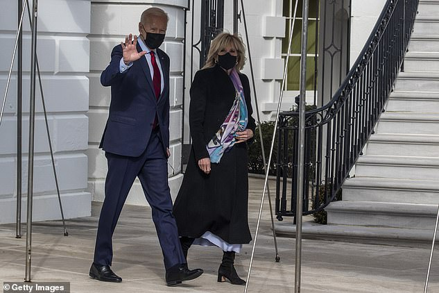 Biden has now said he will deal with Saudi Arabia on Monday. He is pictured above withFirst Lady Jill Biden as they walk to board Marine One on Saturday afternoon