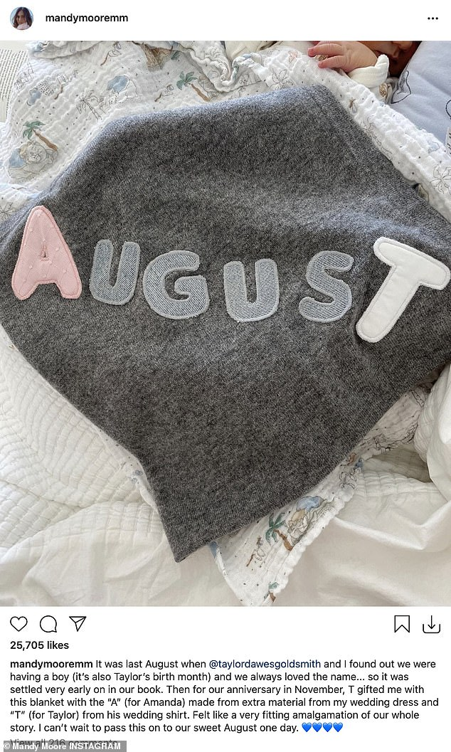 'Settled in really early': she wrote: 'It was last August when @taylordawesgoldsmith and I found out we had a boy (it's also Taylor's birth month) and we have always liked the name ... ''