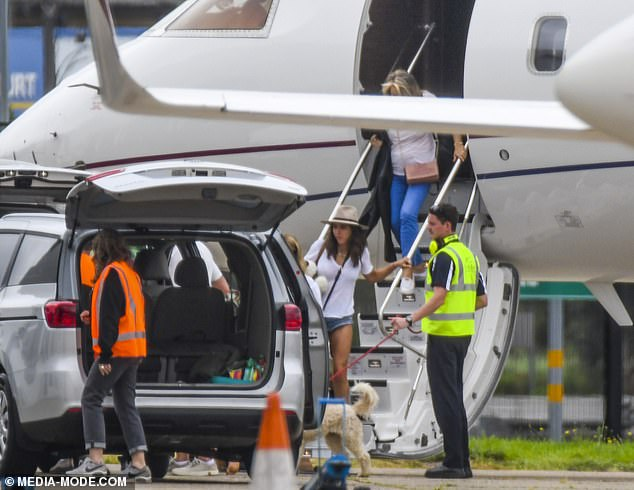 In tow: It's unclear if this was business or pleasure for the Hemsworth Clan, as Chris recently worked hard on the set of Thor: Love and Thunder, frequently traveling between Sydney and Byron Bay on a private jet.