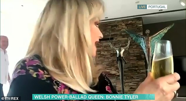 Cheers! The Total Eclipse Of The Heart songstress caused quite a stir on Twitter following a virtual interview on This Morning on Monday as she drank champagne during the chat