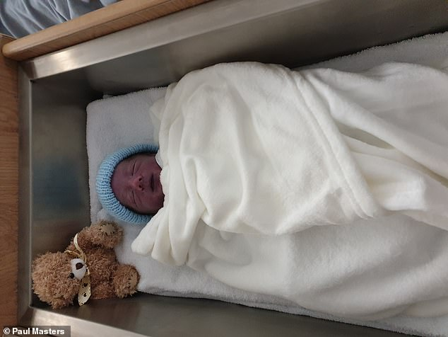 when the couple arrived at Stoke Mandeville, Buckinghamshire, for Siobhan's planned Caesarean, they were given the earth shattering news that one of the babies, James, pictured, did not have a heartbeat. He was stillborn