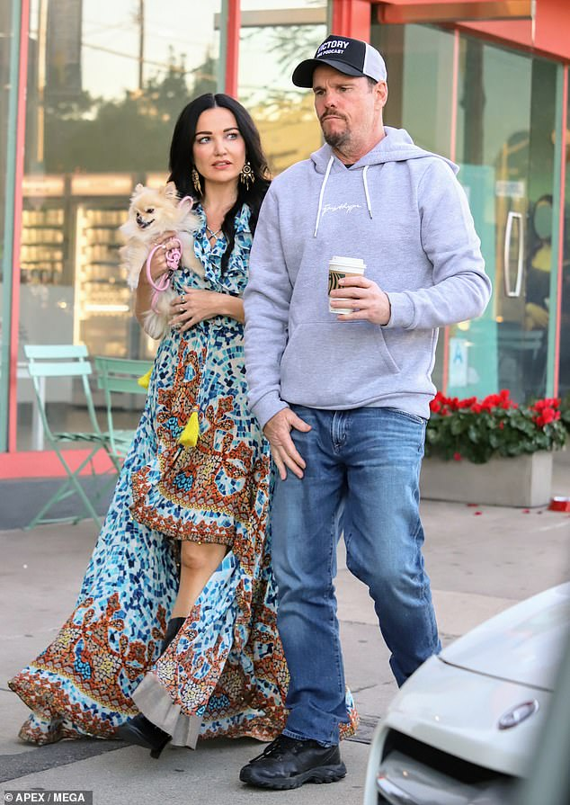 Outside: Kevin Dillon, 55, and his girlfriend Amy May were pictured in West Hollywood on Monday having coffee