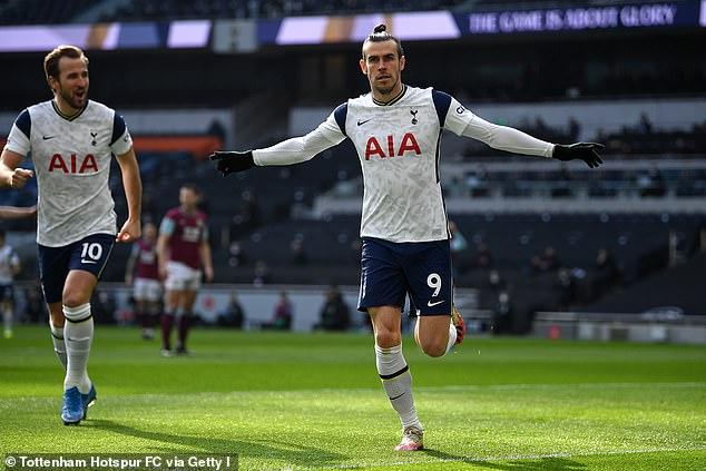 Gareth Bale celebrates after opening the scoring in Tottenham's 4-0 thrashing of Burnley