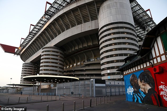 A mural of the fiery exchange between the two strikers later showed up outside San Siro