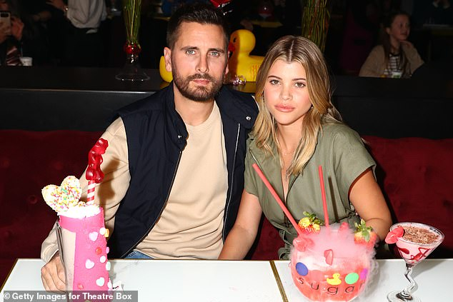 Parting ways:Sofia has been spending tons of time with her tight knit friend group in recent months, following her finite split from ex Scott Disick in August; Scott and Sofia pictured in 2019