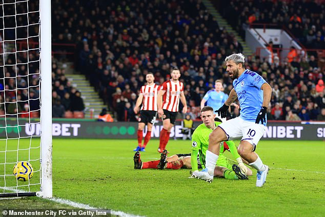 Aguero, who hasn't scored a league goal since this one last January, can leave on a free in June