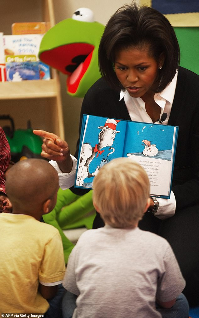 Memories: During her time as First Lady, Michelle frequently read Dr. Seuss books to children - as she is seen doing in Florida in 2009