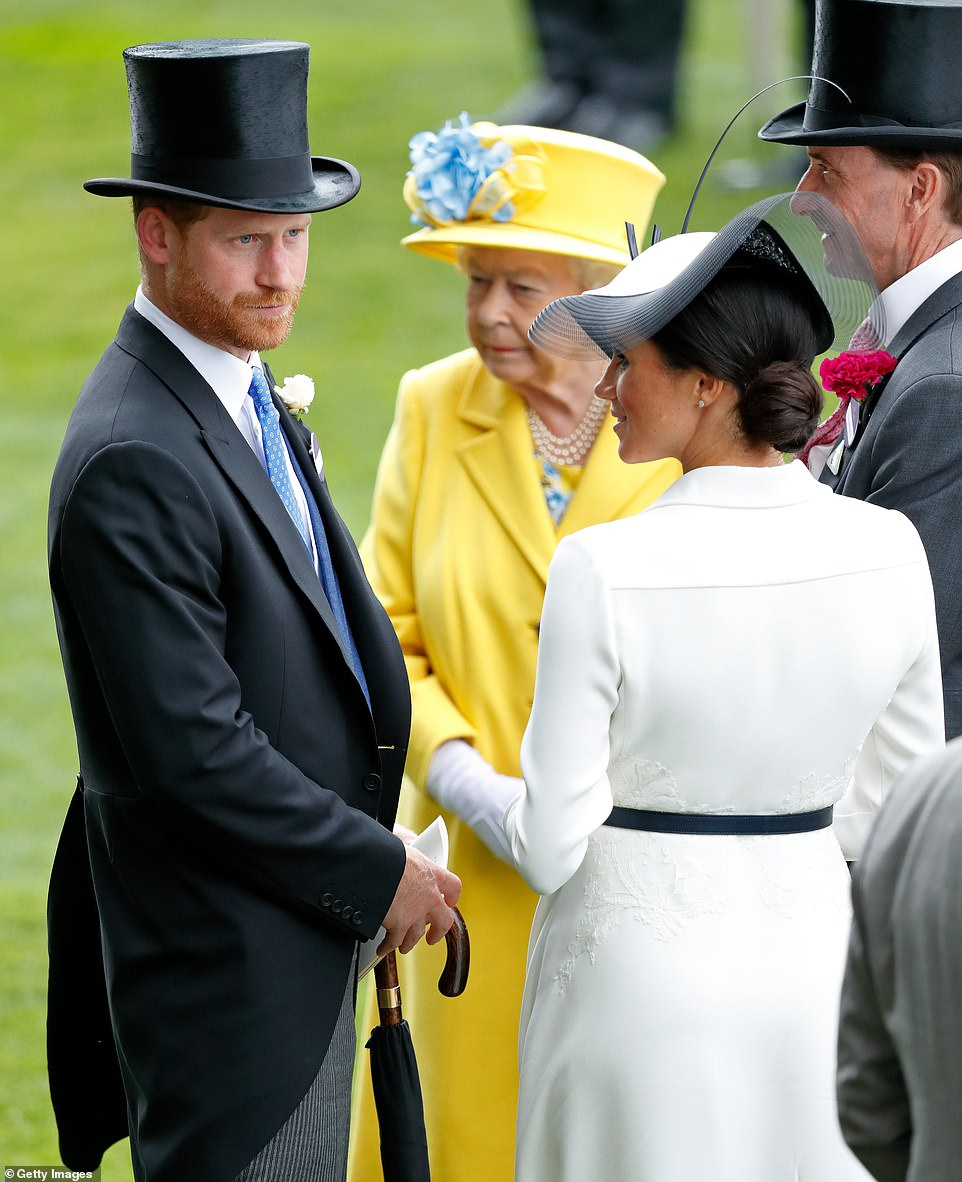Complaints about Meghan began to surface within weeks of her and Harry's starry Windsor wedding. Pictured: Harry and Meghan at Ascot in July 2018