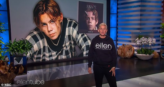 Global success: Fans flocked to social media to congratulate the singer on his American television debut, writing: 'It's just crazy that The Kid Laroi performed on Jimmy Fallon Live Thursday night and today' hui on the Ellen DeGeneres show and he's only 17!  Photographed on Ellen