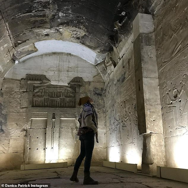 Focus: Patrick was photographed while walking in the ancient Egyptian temple