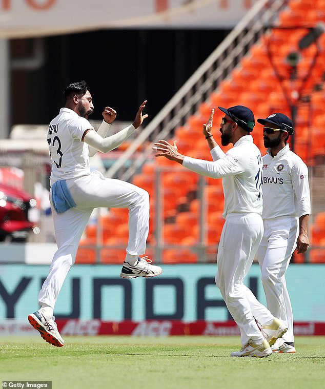 Siraj celebrates the wicket of Jonny Bairstow as England are bowled out for just 205