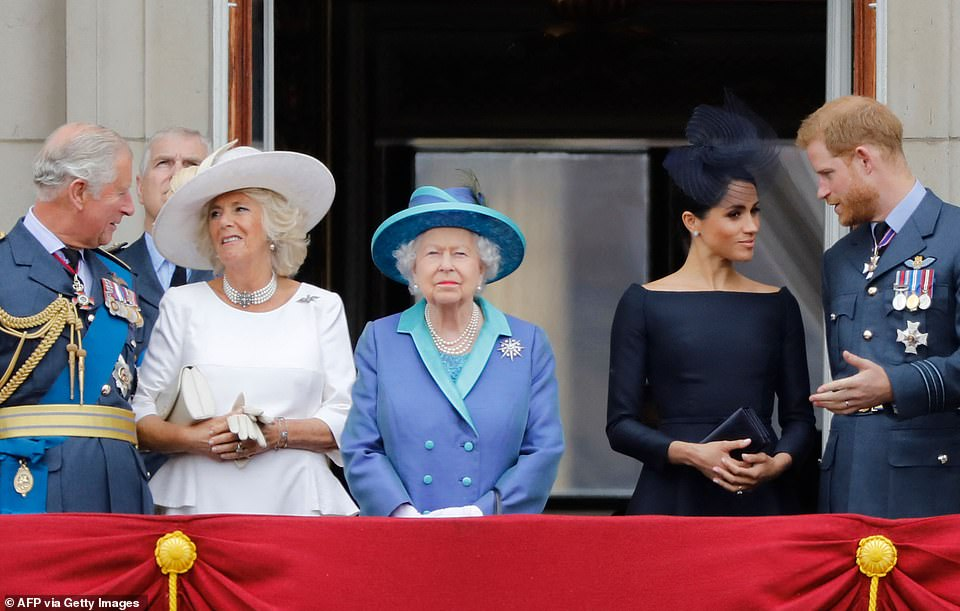 The Duchess of Sussex (pictured with the royal family) is accused of 'driving out' two PAs and shattering the confidence of another member of Kensington Palace staff - with one former aide branding Harry and his wife 'outrageous bullies' in The Times today