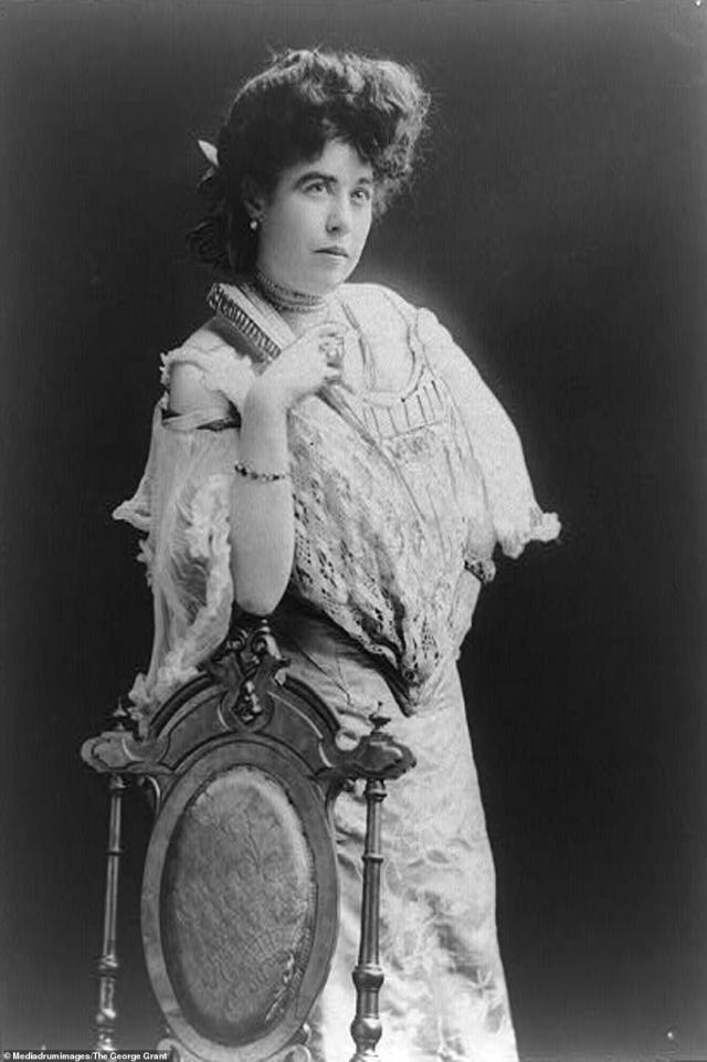 Mrs James J Molly brown, pictured here leaning against a wooden dining chair, was one of the survivors of the Titanic disaster of 1912. She was famous for having tried unsuccessfully to make Lifeboat No. 6 turn back around to help other passengers stuck in the freezing waters. She became known as 'Unsinkable Molly Brown' and during the First World War she worked in France helping to rebuild devastated areas behind the front lines