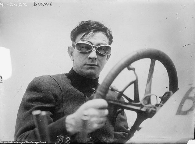 Race car driver and world-record holder Bob Burman is pictured behind the wheel on May 25, 1911. He participated in the 1911 Indianapolis 500 and was known for having set world-records in his 200-horsepower Blitzen Benz on Daytona Beach, reaching a speed of 228.1 km/h over a mile with a flying start. Despite his records, Burman had little luck in the Indianapolis 500, having entered five years in a row and only making the top 10 once. Tragically, Burman was killed in a road race accident in Corona, California on April 8, 1916, after he rolled his car