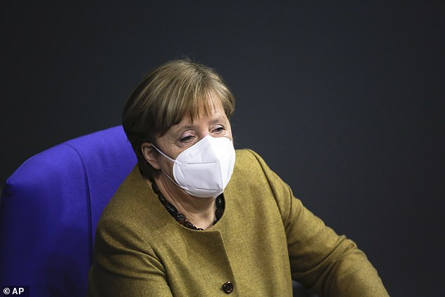 Angela Merkel, pictured, said last month that she was not eligible for the AstraZeneca vaccine because she is 66 years old - a position which could be about to change
