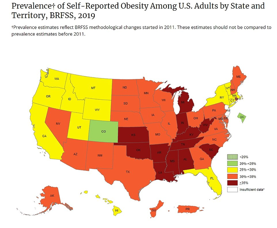 A breakdown of self-reported obesity in each state by the US Centers for Disease Control and Prevention (CDC) in 2019. Some of the hardest-hit states are the same ones that have obesity rates of 30% or higher