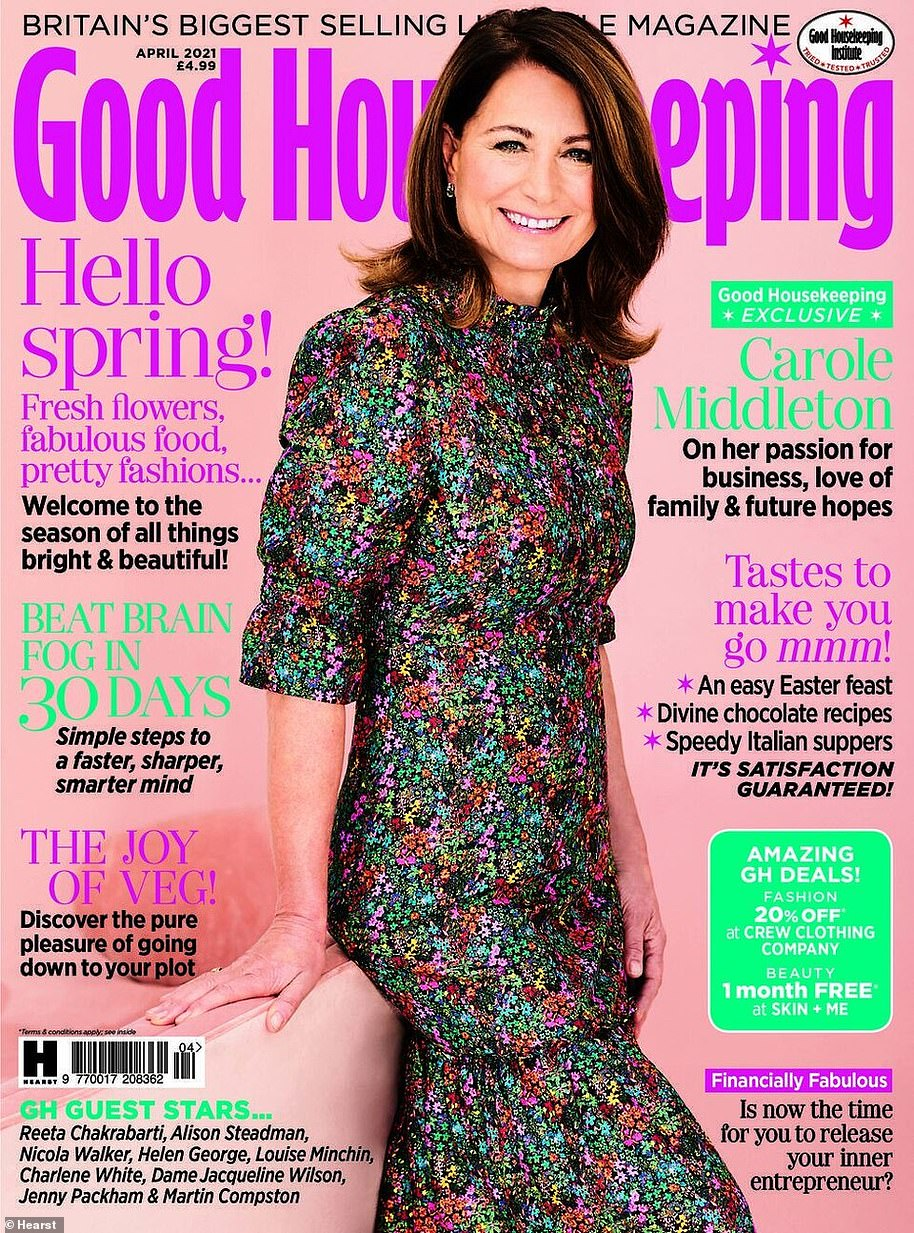 Respectful: Carole Middleton, pictured on the cover of Good Housekeeping, discusses her business and family life in the interview which features in the April issue and is out now
